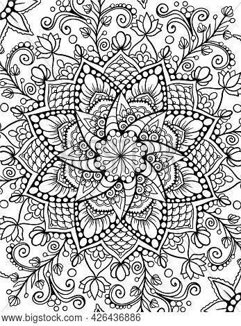 Ornamental Mandala Adult Coloring Book Page. Zentangle Style Coloring Page. Arabic, Indian Ornament.