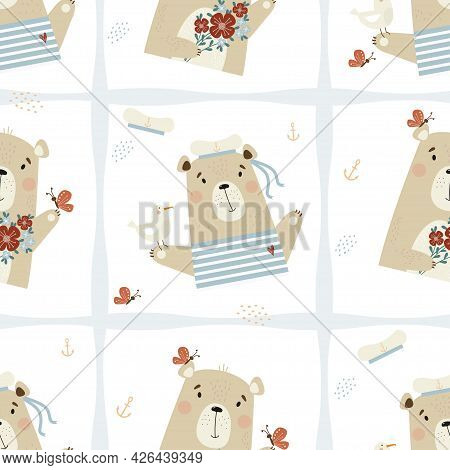 Seamless Pattern With Cute Bears. Sailor In Hat With A Seagull And Beautiful Bear With Bouquet Of Fl