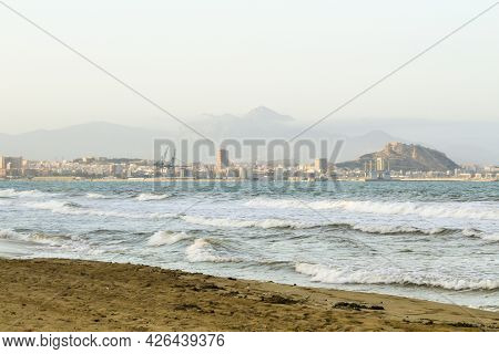 Views Of The Coast Of Alicante From Urbanova Beach In Summer