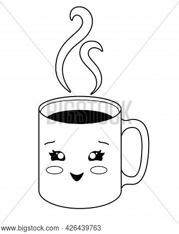 A Cup. Cup With A Hot Drink - Coffee Or Tea And Rising Trickles Of Steam - Vector Linear Illustratio