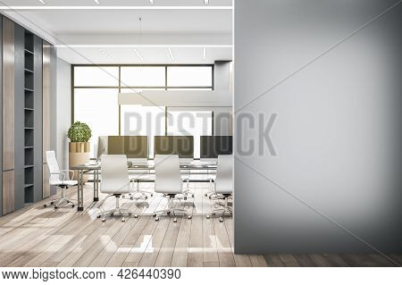 Modern Coworking Meeting Room Interior With Bright City View, Empty Mockup Place On Wall And Equipme