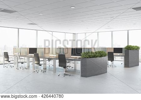 Modern Concrete Coworking Office Interior With Furniture, Window With City View And Daylight. Corpor