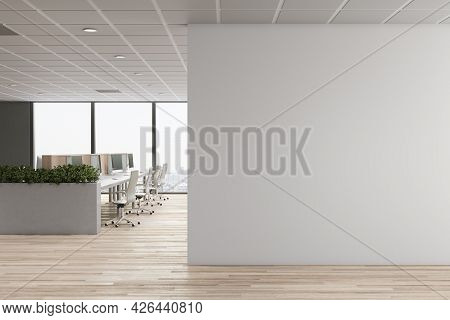 Modern Concrete Coworking Office Interior With Furniture, Window With City View, Daylight And Empty