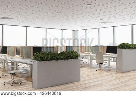 Contemporary Concrete Coworking Office Interior With Furniture, Window With City View And Daylight.