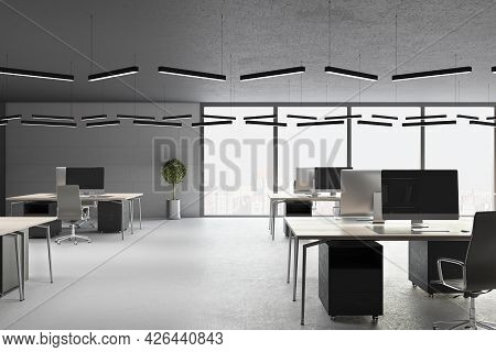 Minimalistic Concrete Coworking Office Interior With Furniture, Window With City View And Daylight.