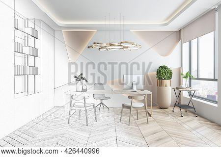 Bright Office Interior Blueprint. Repairs And Refurbishment Concept. 3d Rendering