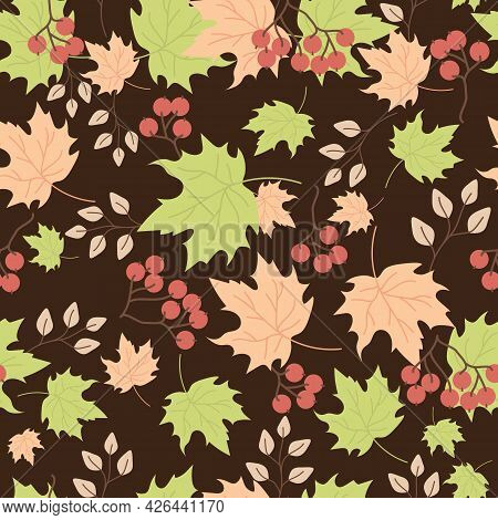 Seamless Patterns. Autumn Pattern Of Multicolored Maple Leaves, Branches And Red Berries, Rowan Berr
