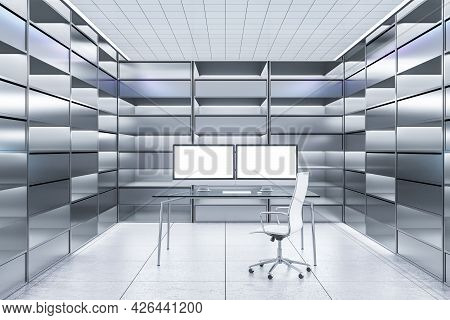 Abstract Futuristic Office Interior With Two Blank White Computer Monitors On Desk And Silver Bookca