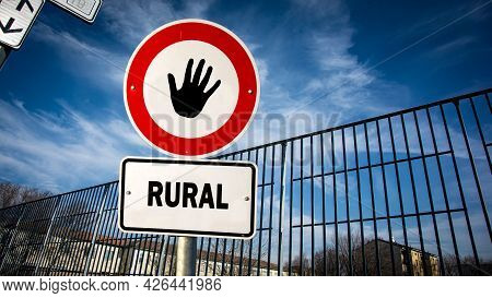 Street Sign The Direction Way To Urban Versus Rural