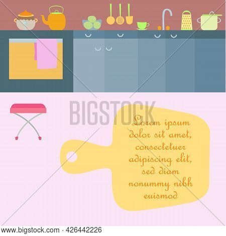 Kitchen Interior With Utensils Made In Flat Style. Kitchen Room With Cabinets, Sink, Gas Stove, Kett