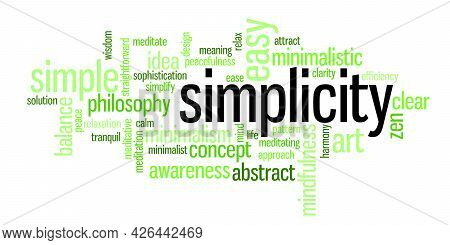 Wordcloud With A Word Simplicity And Words Connected With Minimalist Approach