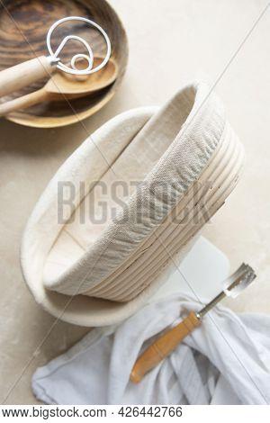 Rattan Banneton, Proofing Basket For Sourdough Bread. Baking Utensile. Basic Set Of Baking Bread Hom