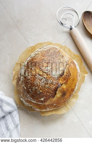 Sourdough Rustic Bread Loaf, Round Homemade Bread Made From Wild Yeast. Healthy Food.