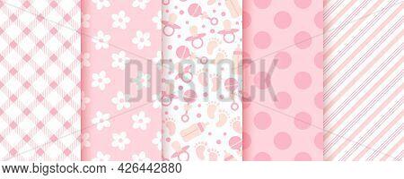 Baby Pink Seamless Patterns. Pastel Background. Baby Girl Geometric Print. Vector. Set Of Kids Textu