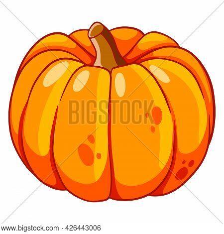 Vegetarian Food. Ripe Orange Pumpkin. Halloween. Cartoon Style.