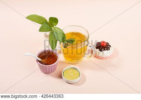 Cup Of Sage Herbal Tea, Fresh Sage Leaves, Honey And Lemon. Home Remedies.