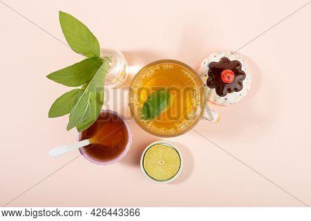 Cup Of Sage Herbal Tea, Fresh Sage Leaves, Honey And Lemon. Home Remedies. Top View.