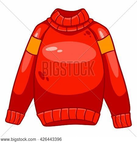 Warm Clothing. Cute Red Sweater For Women. Autumn Clothes.