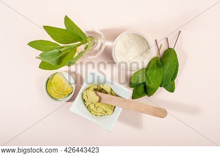 Sage Facial Mask. Sage Leaves, White Clay, Oil, Lemon. Beauty Treatment. Home Made Organic Cosmetic.