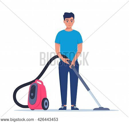 Man Enjoy Cleaning House With Vacuum Cleaner. Smiling Man Cleans The House. Man Character Vacuuming