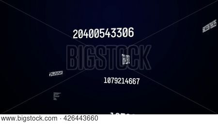 Image of white numbers changing and data processing over blue background. digital interface statistics mathematics science concept digitally generated image.