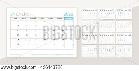 Spanish Calendar For 2022 Year. Planner Template. Table Calender Layout With 12 Month. Vector. Week