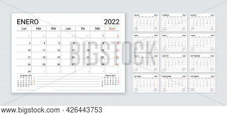 2022 Spanish Calendar. Planner Template. Table Calender Layout. Vector. Week Starts Monday. Schedule