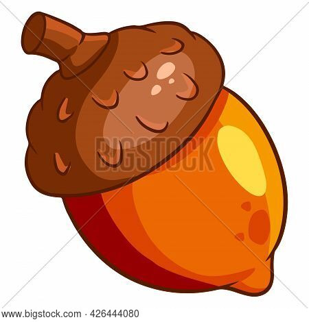 Oak Fruit. A Bright Acorn With A Hat And A Twig. Cartoon Style.