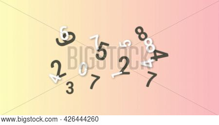 Random numbers and alphabets moving and changing against orange and pink background. alphabetical and numerical data processing information flow concept.