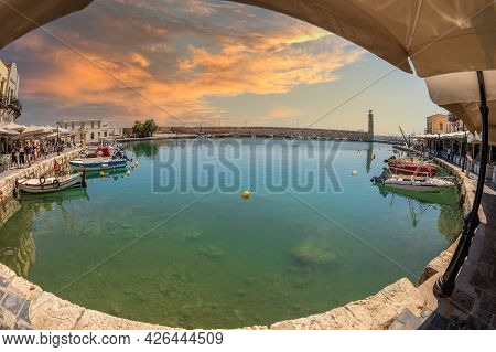 Rethymno, Crete, Greece - June 19, 2021: The Old Harbour Built By The Venetians In The 13th Century,