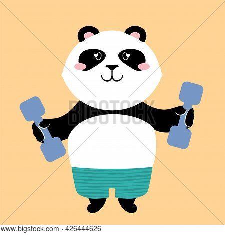 Vector Illustration Of A Cute Cartoon Panda Bear In Stripy Shorts With Dumbbells