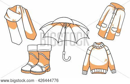 Autumn Set. Collection Of Autumn Items. Scarf, Raincoat, Sweater, Rubber Boots, Umbrella. Line Style