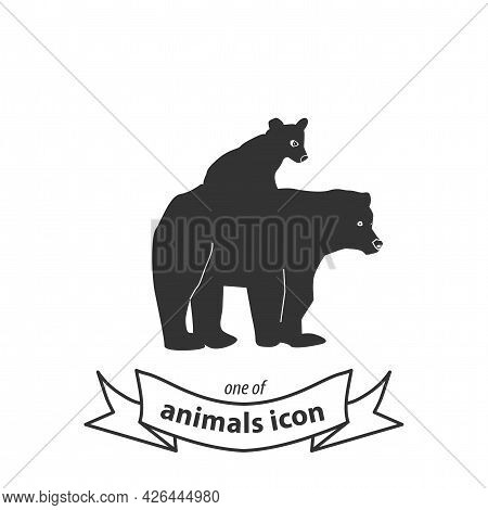 Bear Logo, Mother And Baby Bear Sign. Bear Isolated Simple Vector Icon