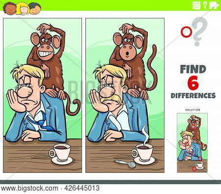 Cartoon Illustration Of Finding The Differences Between Pictures Educational Game With Monkey On You