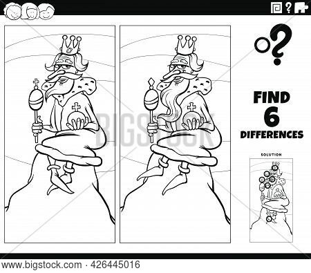 Black And White Cartoon Illustration Of Finding The Differences Between Pictures Educational Game Wi
