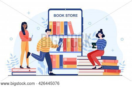Young Male And Female Characters Are Reading Books On Mobile Devices From Online Book Store. Group O