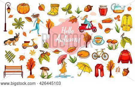 Autumn Set. A Large Collection Of Objects And People Dedicated To Autumn. Cartoon Style. Vector Illu