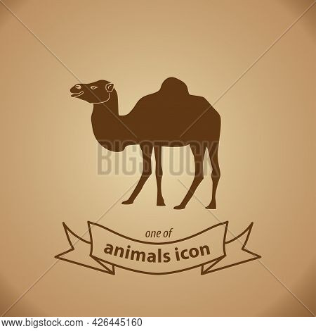 Camel Sign. Camel Isolated Simple Vector Icon