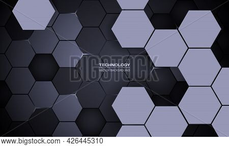 Dark Gray Hexagonal Technology Abstract 3d Vector Background. White Bright Energy Flashes Under Hexa