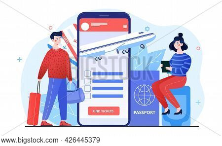 Young Male And Female Characters Are Buying Travelling Tickets Online In Smartphone Application. Con