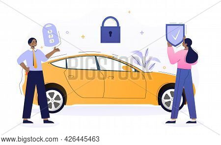 Male Vehicle Sales Manager Is Installing Car Alarm Into New Car. Happy Woman With Car Key And Shield