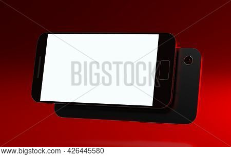 Smartphone Screen Mockup. Mobile Phone 3d Render. Cellphone On Dark Background With Red Backlight. M