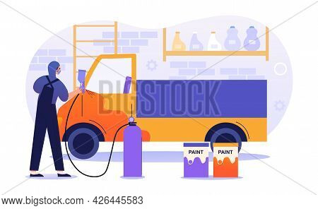 Male Character Is Working In Car Painting Service. Male Painter Working With Sprayer Equipment. Man