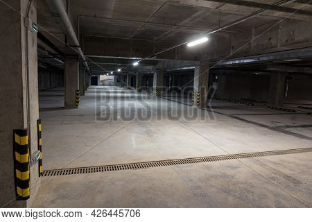 Parking For Cars Within The City. Empty Underground Parking. Free Parking Spaces. Alternative Parkin