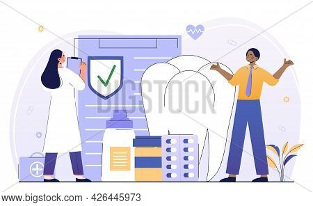 Male Customer Is Recieving Policy From Insurance Agent And Doctor. Concept Of Healthcare And Dental