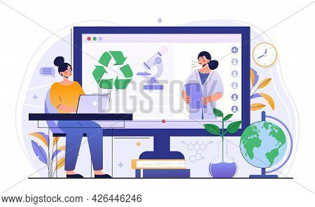 Young Female Character Is Using Ecologist Online Service. Scientist Is Taking Care Of Nature And Stu