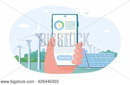 Hand Holding Mobile Smartphone With Electricity Energy Usage Monitoring Application. Concept Of Sust