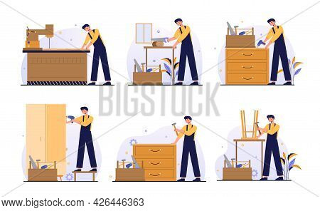 Set Guide Of Furniture Assembly With Worker On White Background. Male Manufacture Worker With Profes