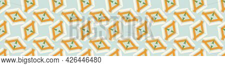Summer Tropical Geometric Seamless Border Pattern. Bright Retro Geo Banner Edge. Fun Gender Neutral