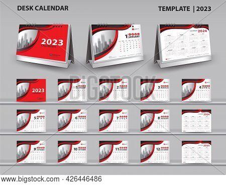Set Desk Calendar 2023 Template Vector And Desk Calendar 3d Mockup, Calendar 2024-2025 Template Desi